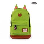 Зелёный женский рюкзак с кошачьми ушками Canvas Cat Ear Backpack Green