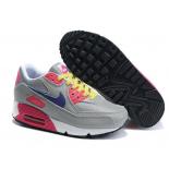 Серые/розовые женские кроссовки Nike Air Max 90 Gray Pink Colored Laces