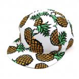 Белая бейсболка с прямым козырьком с ананасами Burisil PineApple Snapback White