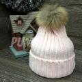 Розовая зимняя шапка с помпоном (натуральный мех) Beanie Real Fur Pink
