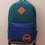 Зелёный/синий тканевый городской рюкзак School Backpack MM Green Blue