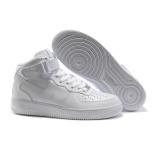 Белые высокие зимние кроссовки с натуральным мехом Nike Air force 1 White Mid Fur Real
