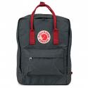 Тёмно-серый тканевый рюкзак Fjallraven Kanken Classic Graphite Red