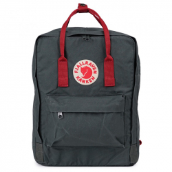 Тёмно-серый тканевый рюкзак Fjallraven Kanken Classic Graphite Red  Premium 2018