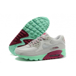 Серые женские кроссовки Nike Womens Air Max 90 Mint Red Gray Premium 2017