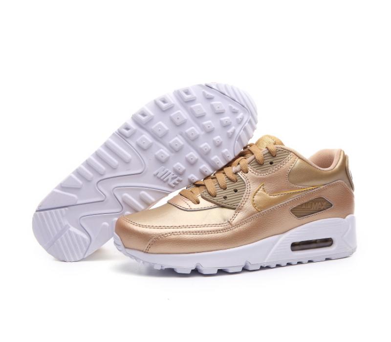 f0d63414 Золотые женские кроссовки Nike Womens Air Max 90 Gold Woman Premium 2017