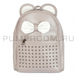 Серо/бежевый кожаный рюкзак с клепками Leather Mini Backpack Mouse Ear Beige