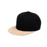 Чёрная бейсболка с пробковым козырьком Black Wool Snapback Premium