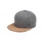 Серая бейсболка с пробковым козырьком Gray Wool Snapback Premium