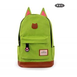 Салатовый женский рюкзак с кошачьими ушками Canvas Cat Ear Backpack Volt Green
