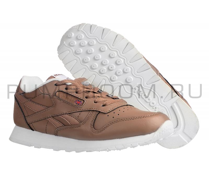 Коричневые кожаные женские кроссовки Reebok Classic Leather Brown Wmns 88ee40004c5