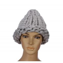 """Серая зимняя шапка """"Крупная вязка"""" Beanie Large Viscous Gray"""
