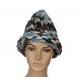"""Разноцветная зимняя шапка """"Крупная вязка"""" Beanie Large Viscous Coffee blue"""