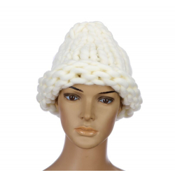 "Белая зимняя шапка ""Крупная вязка"" Beanie Large Viscous White"