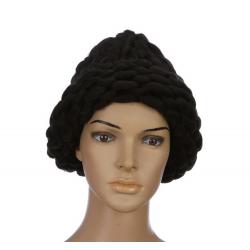 """Чёрная зимняя шапка """"Крупная вязка"""" Beanie Large Viscous Black"""