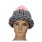 """Серая/розовая зимняя шапка """"Крупная вязка"""" Gray Pink Beanie Large Viscous"""
