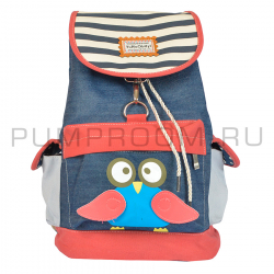 Джинсовый городской рюкзак-мешок с Совой Jeans Backpack Nikki Owl 2017