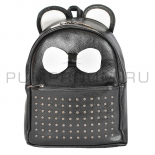 Чёрный кожаный рюкзак с клепками White Leather Mini Backpack Mouse Ear Black