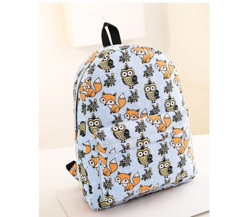 d57b6c276dba Голубой тканевый рюкзак с совами Backpack Owl Fox Light Blue ...