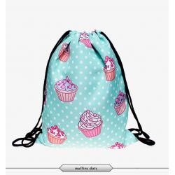 Рюкзак-мешок на завязках School Backpack Muffins Dots