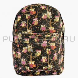 """Чёрный тканевый рюкзак """"Совы"""" Backpack Black Owl 2017"""