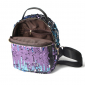 Чёрный/серебряный женский рюкзак с блестками Backpack Gold Silver Mini