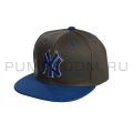 Серая/синяя бейсболка с прямым козырьком New York Snapback NY Gray Blue