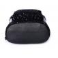 Чёрный кожаный женский рюкзак Backpack Black Paillette Leather