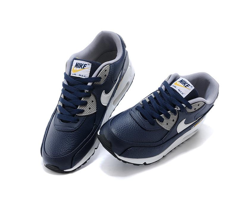 Синие кожаные мужские кроссовки Nike Air Max 90 Premium Man Blue Yellow 6fc3a063780a4