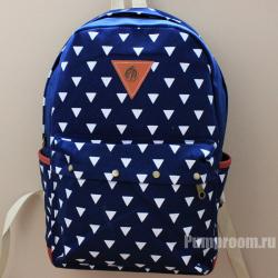 Синий тканевый рюкзак с треугольниками Backpack Blue Triangle Tree