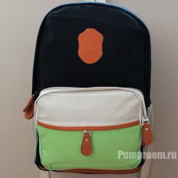 Чёрный/зеленый/бежевый тканевый рюкзак Backpack TLQ Beige Green Black