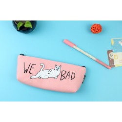 Розовая косметичка-пенал на молнии We Bad Cat Pink Pencilcase