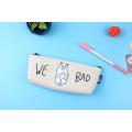 Белая косметичка-пенал на молнии We Bad Cat White Pencilcase
