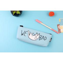 Голубая косметичка-пенал на молнии We Bad Cat Blue Pencilcase