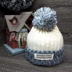 Белая/синяя зимняя шапка с помпоном Beanie Sooner State White Blue