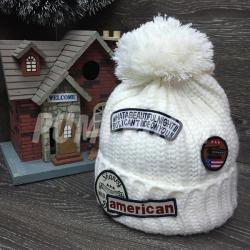 Белая зимняя шапка с помпоном American Beanie Ride on You White