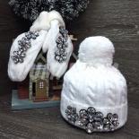 Белый зимний комплект (шапка+варежки) White Beanie Set Rhinestones