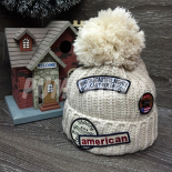 Бежевая зимняя шапка с помпоном American Beanie Ride on You Beige