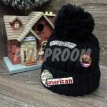 Чёрная зимняя шапка с помпоном American Beanie Ride on You Black