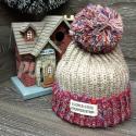 Бежевая/красная зимняя шапка с помпоном Beanie Sooner State Beige Red