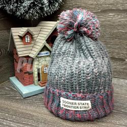 Серая зимняя шапка с помпоном Beanie Sooner State Gray