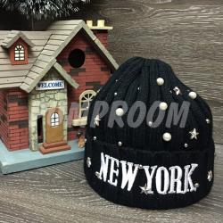 """Чёрная зимняя шапка """"Нью-Йорк"""" New York Beanie Black"""
