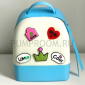 Голубой/белый силиконовый рюкзак Mini Silicone Backpack Blue White Love