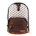 Коричнево-белый тканевый рюкзак в горошек City Walk Brown White Dots