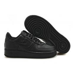 Чёрные низкие кожаные кроссовки Nike Air force 1 Black Low 07