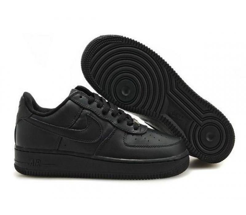 24de153a Чёрные низкие кожаные кроссовки Nike Air force 1 Black Low 07 ...