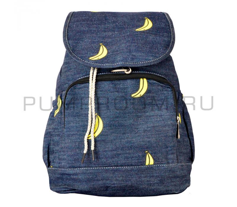 4aae89f5e9b3 -35% Синий джинсовый рюкзак-мешое с бананами Backpack Sack Jeans Banana Blue