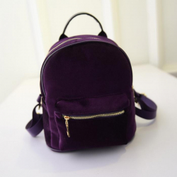 Фиолетовый вельветовый мини рюкзак Velvet Violet Backpack Mini