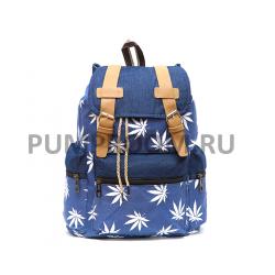 """Синий городской рюкзак-мешок """"Конопля"""" Marijuana Backpack Blue Sack"""