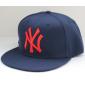 Тёмно-синяя бейсболка с прямым козырьком New York Snapback NY Navy Blue Red Logo